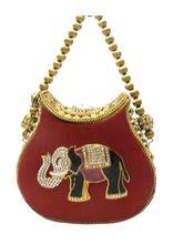 Bhamini Metal and Raw Silk Handbag with Elephant Brooch (Maroon)