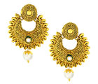 The Jewelbox Traditional Antique 22K Gold Plated Chand Bali Earring For Women