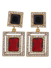 The Jewelbox Maroon & Black Stone American Diamond...
