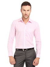 Copperline Checked Fullsleeves Slimfit Cotton Formal Shirt, m, pink