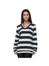 Kaxiaa Stylish Stripes Sweater for Women, s, navy