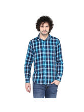 Crosscreek Aqua Checked Slimfit Fullsleeve Double Cloth Casual Shirt With Inner Bind In Collar, l, aqua