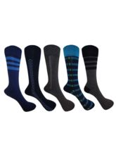 AOV Men's Solid Mid-calf Length Socks, pack of 5 pairs (New-0004), multicolor