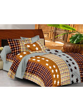 Casa Basics Double Bedsheet With 2 Pillow Cover (CBEZ230230144118), grey and brown