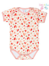 Sofie & Sam London-Baby Bodysuit Romper Onesie made from Organic Cotton-Glittering Hearts, 9-12 months, red