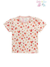 Sofie & Sam London-Baby Tees made from Organic Cotton-Glittering Hearts, 3-6 months, red