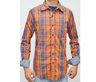 SLIM FIT 100% COTTON, xl, blue orange checks