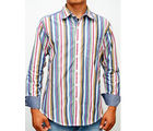 SLIM FIT 100% COTTON, l, multi color stripes