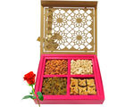 Delectable Dry Fruits And Baklava With Red Rose - Chocholik Premium Gifts