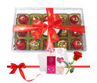 Beautiful Wrapped Chocolates With Love Card And Rose - Chocholik Luxury Chocolates
