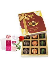 Yummy Truffles Treat With Love Card And Rose - Chocholik Luxury Chocolates