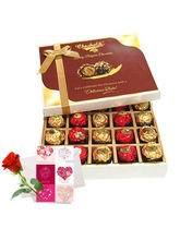 Sweet Choco Surprise Of Chocolates With Love Card And Rose - Chocholik Belgium Chocolates
