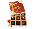 Enthralling Dark Chocolate Box With Red Rose - Chocholik Belgium Chocolates