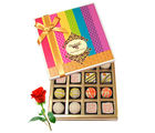 Treat Of White Truffles Box With Red Rose - Chocholik Belgium Chocolates