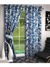 AB Home Decor Door Curtains (Set of 2) - 7 Feet x 4 Feet, blue