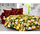 Welhouse & Floral Design 100% Cotton Double Bedsheet With 2 Contrast Pillow Cover-Best Tc-175, yellow