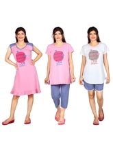 Carrel Imported Printed Cotton Hosiery Fabric 5 Set Of Night Wear For Women (AGSPL-3461), l, pink and white