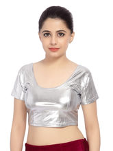 Carrel Imported Leather Stretchable Lycra For Women Blouse (AGSPL_ 3081), silver, l