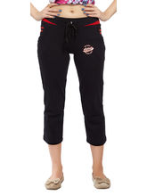 Comix Casual Cotton And Hosiery Women Capri, black and red, l