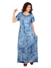 Carrel Imported Rayon Denim Fabric Round Neck Printed Women's Night Gown (3360), denim blue