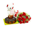 Giftacrossindia Bunch of 10 Red Roses with Cute Teddy and Half Kg Chocolate Cake (GAIMPHD0486), 1000 gms