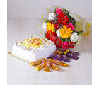 Giftacrossindia Bouquet of Mix flowers with Square Shape Pineapple Cake and Assorted Chocolates (GAIMPHD0100), 1000 gms