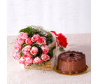 Giftacrossindia Fifteen Pink Roses with Chocolate Cake (GAIMPHD0328), 1000 gms