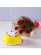 Giftacrossindia One Kg Pineapple Cake With Six Red...