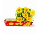Giftacrossindia Six Yellow Roses Bouquet with 500 Gms Soan Papdi (GAIMPHD0400), 1000 gms