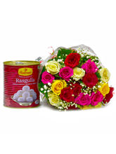 Giftacrossindia Bouquet Of 20 Mix Lovely Roses Wit...