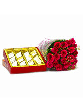 Giftacrossindia Bouquet Of 20 Red Roses With Kaju ...