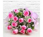 Giftacrossindia Bouquet of Dozen Pink Roses (GAIMPHD0003), 1000 gms