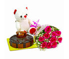 Giftacrossindia Bouquet of 10 Pink Roses with Cute Teddy and Half Kg Chocolate Cake (GAIMPHD0488), 1000 gms