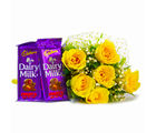 Giftacrossindia Bunch of 6 Yellow Roses with Mouthmelting Cadbury Fruit and Nut Chocolate Bars (GAIMPHD0114), 1000 gms