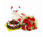 Giftacrossindia Ten Red Rose with Eggless Black Forest Cake and Soft Toy (GAIMPHD0479), 1000 gms
