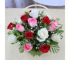 Giftacrossindia Basket of 15 Mix Color Roses (GAIMPHD0547), 1000 gms