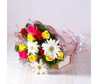 Giftacrossindia Bunch of White Gerberas with Multi Colour Roses (GAIMPHD0026), 1000 gms