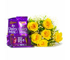 Giftacrossindia 6 Yellow Roses of Bouquet with Assorted Bars of Cadbury Dairy Milk Chocolates (GAIMPHD0116), 1000 gms