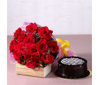 Giftacrossindia Yummy Chocolate Cake with Bouquet of 20 Red Roses (GAIMPHD0341), 1000 gms