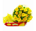 Giftacrossindia Friendly 20 Yellow Roses Bouquet with Soan Papdi (GAIMPHD0425), 1000 gms
