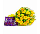Giftacrossindia Bunch of 20 Yellow Roses with Bars of Cadbury Dairy Milk Chocolates (GAIMPHD0148), 1000 gms