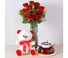 Giftacrossindia Red Roses Vase with Chocolate Vanilla Cake and Teddy Bear (GAIMPHD0594), 1000 gms