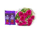 Giftacrossindia Bunch of Ten Pink Roses with 2 Cadbury Dairy Milk Fruit N Nut Bars (GAIMPHD0133), 1000 gms