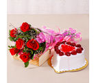 Giftacrossindia Six Special Red Roses Bunch with Heart Shape Strawberry Cake (GAIMPHD0315), 1000 gms