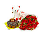 Giftacrossindia Bouquet of 20 Red Roses with Cute Teddy and Chocolate Cake (GAIMPHD0485), 1000 gms