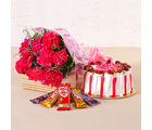 Giftacrossindia Flower Combo of Carnations, Cakes and Chocolates (GAIMPHD0514), 1000 gms