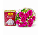 Giftacrossindia Bouquet of Pink Gerberas with Rasgullas (GAIMPHD0415), 1000 gms