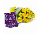 Giftacrossindia Bunch of Ten Yellow Roses with Cadbury Dairy Milk Chocolate Bars (GAIMPHD0138), 1000 gms