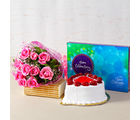 Giftacrossindia Treat of Strawberry Cake with Pink Roses and Chocolates (GAIMPHD0194), 1000 gms