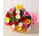 Giftacrossindia Twenty Mix Colour Roses Hand Tied Bouquet (GAIMPHD0063), 1000 gms